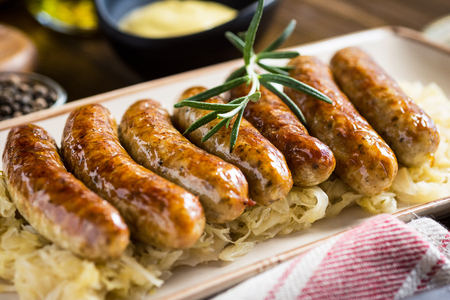 Juicy Grilled Sausages with Cabbage Salad, Mustard and Beer