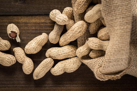 Rustic Style Peanuts in Shells on Wooden Background with Copy Space