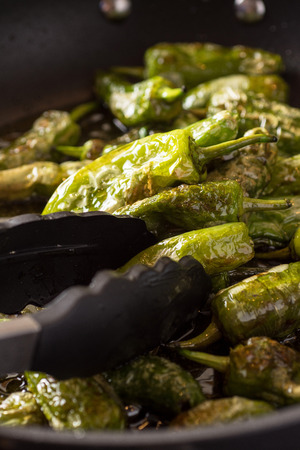 Preparing Green Padron Peppers in the Frying Pan