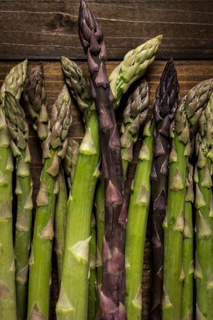 Asparagus Varieties on Dark Wooden Background