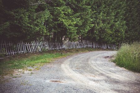 Countryside Road and Old Rustic Wooden Fence. Tara National Park. Reklamní fotografie