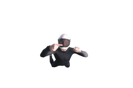 One finger. Fly men show one finger. Sky diver in black suit. Teampleat skydiver.
