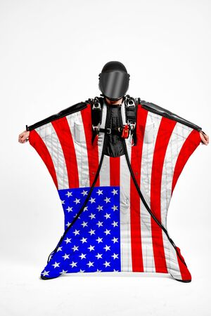 USA extreme. Men in wing suit templet. Skydiving men in parashute. Simulator of free fall.