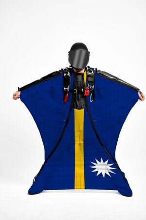 Nauru extreme. Men in wing suit templet. Skydiving men in parashute. Simulator of free fall.