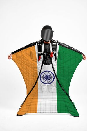 India extreme. Men in wing suit templet. Skydiving men in parashute. Simulator of free fall.