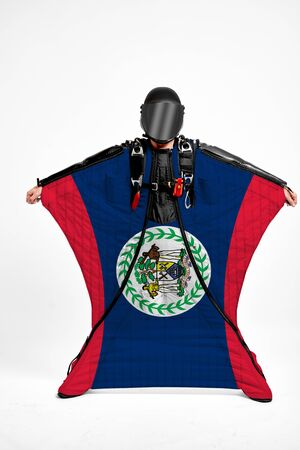 Belize extreme. Men in wing suit templet. Skydiving men in parashute. Simulator of free fall.