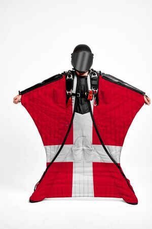 Denmark extreme. Men in wing suit templet. Skydiving men in parashute. Simulator of free fall.