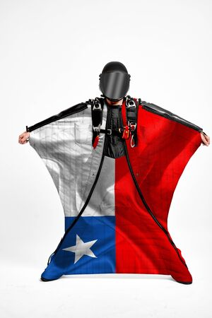 Chile extreme. Men in wing suit templet. Skydiving men in parashute. Simulator of free fall.