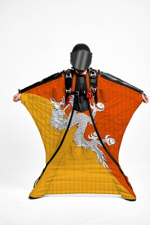 Butane extreme. Men in wing suit templet. Skydiving men in parashute. Simulator of free fall.