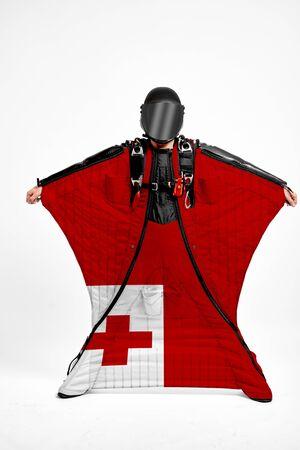 Tongo extreme. Men in wing suit templet. Skydiving men in parashute. Simulator of free fall.