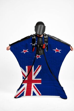 New Zealand extreme. Men in wing suit templet. Skydiving men in parashute. Simulator of free fall.