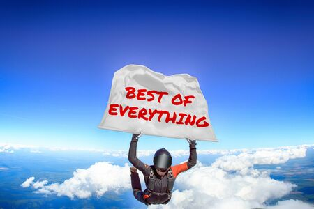 Best of everything. Men in parachute equipment. Skydiving sport. Extreme hobby as a way of life. Parachuting. Men in free fall.