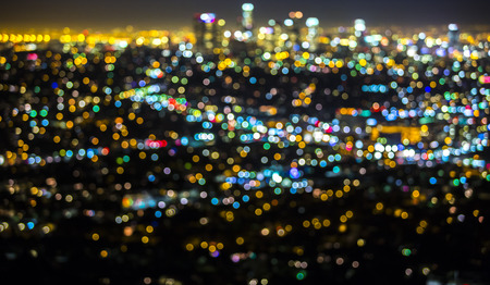 night: Los Angeles cityscape at night with lights blurred into bokeh circles