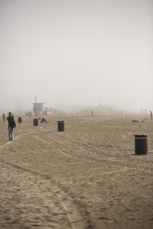 VENICE, UNITED STATES - January 3  Foggy day near Venice Beach on January 3, in Los Angeles, California