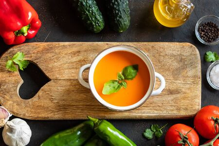Andalusian Gazpacho refreshing tomato and other vegetables Zdjęcie Seryjne
