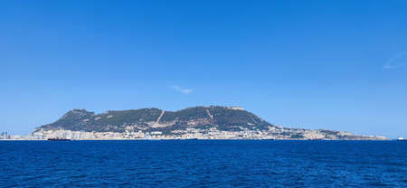 Panoramic of the Rock of Gibraltar seen from the Mediterranean sea