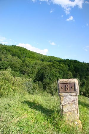 milepost: milestone marked with eight and positioneda on a hill