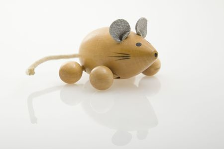 wooden mouse painted on white background Stock Photo - 6624943