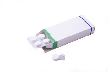 Image of a pills blister getting out form the box over white background Stock Photo - 6624938