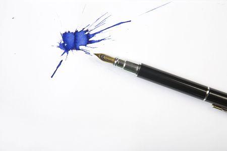 Borrones lápiz y tintas con fondo white paper  Foto de archivo