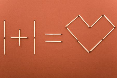 one plus one equal love, made of matches Stock Photo - 6771732