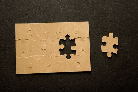 managed: The last piece of a puzzle game, details Stock Photo