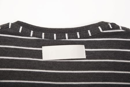 blank t-shirt label on striped texture cloth Stock Photo - 7024082
