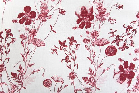 cotton dress: flower fabric texture, red plants on white background
