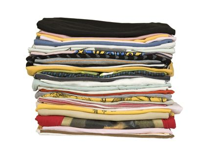 stack of colored t-shirts, front view, ironed and packed Stock Photo - 7024106