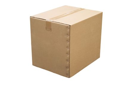front view of closed cardboard box on white background Stock Photo - 7088985