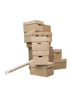 stockpiling: Brown different cardboard boxes arranged in stack on white background Stock Photo