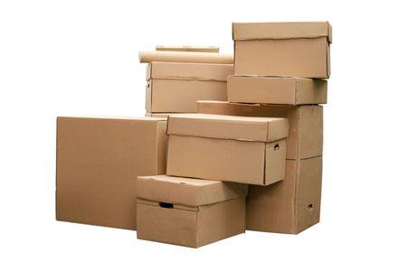 product box: Marrone diverse scatole di cartone, disposti in pila su sfondo bianco  Archivio Fotografico