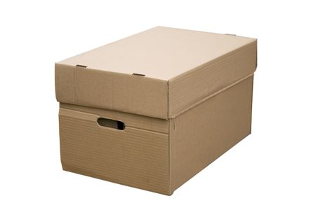front view of closed cardboard box on white background Stock Photo - 7154220