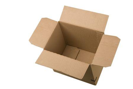 open corrugated cardboard box on white background Stock Photo - 7165571