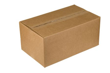 closed shipping cardboard box isolated on white Stock Photo - 7165572