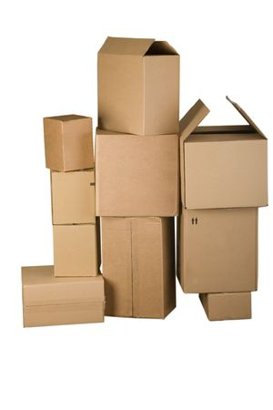 cardboard boxes: Brown different cardboard boxes arranged in stack on white background Stock Photo