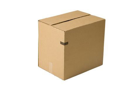 closed shipping cardboard box isolated on white Stock Photo - 7165589