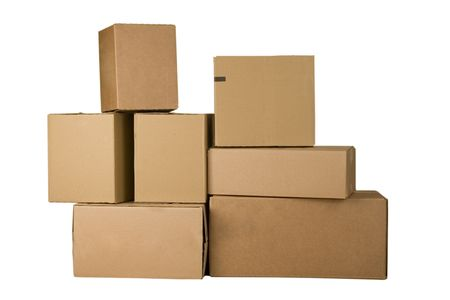 stockpiling: Brown different cardboard boxes arranged in stack