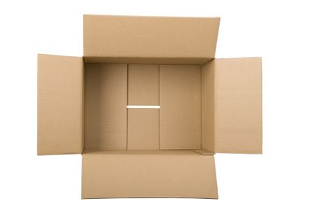 moving crate: open corrugated cardboard box on white background