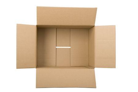 carton: Open golf kar tonnen doos op witte achtergrond