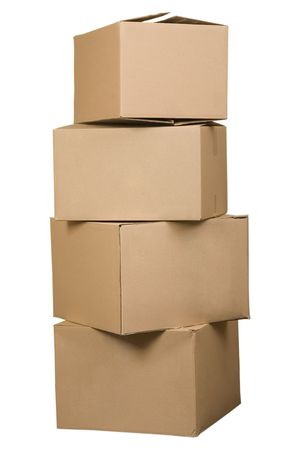 cardboard boxes: Brown cardboard boxes arranged in stack on white background