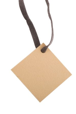 tan blank tag for products on white background  Stock Photo - 7165587