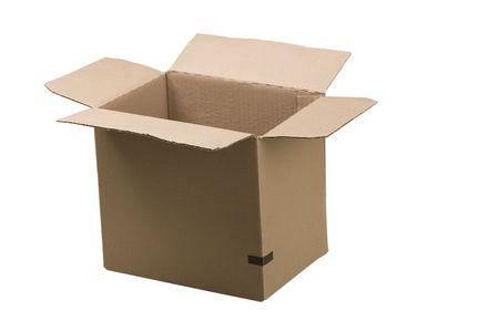 open corrugated cardboard box on white background Stock Photo - 7182400