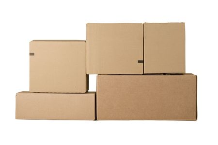Brown different cardboard boxes arranged in stack photo