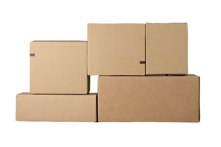 boite carton: Bruns diff�rentes bo�tes de carton dispos�es en pile
