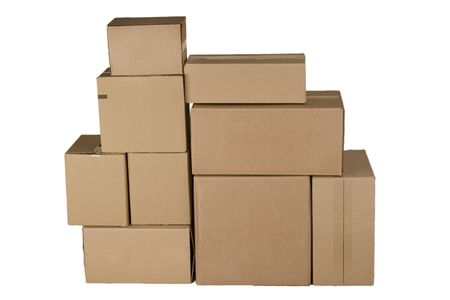pile reuse: Brown different cardboard boxes arranged in stack