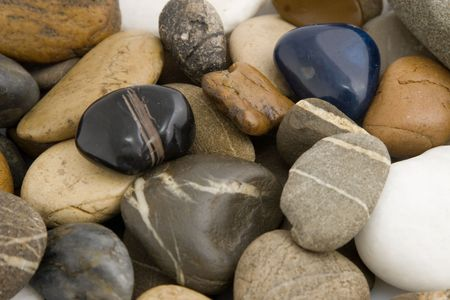 close-up of colored stones, different shape and texture photo