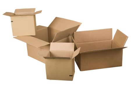 stockpiling: open brown cardboard boxes on white background