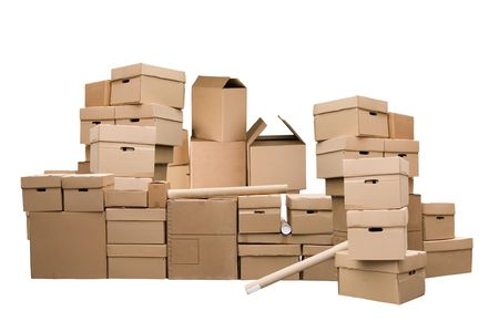 pile reuse: Brown different cardboard boxes arranged in stack on white background Stock Photo