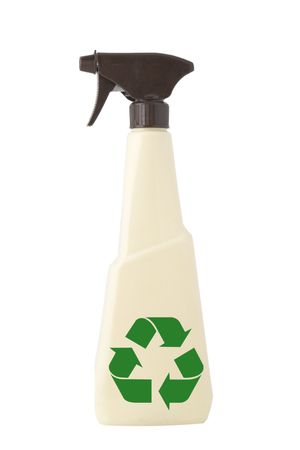 pulverizer: TAN PULVERIZER, ATOMIZER, CLEANING SPRAY ON WHITE BACKGROUND and green recycling sign